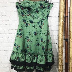 Strapless green floral dress